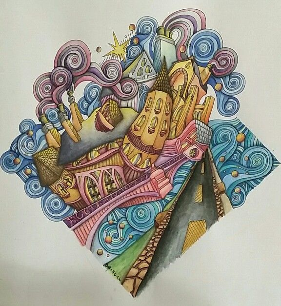 Bruges Page Colored By Dayna Brown Using Inktense Pencils Activated With A Waterbrush I LOVE In This Coloring Book