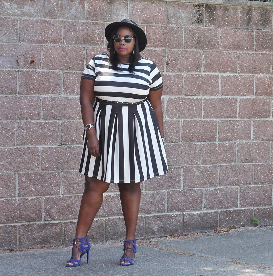 PLUS SIZE FASHION -  Big Beautiful Black Girls : Photo Simply Be Dress, F21 Hat, Nine West Sandals  Submitted by (http://www.stylishcurves.com)