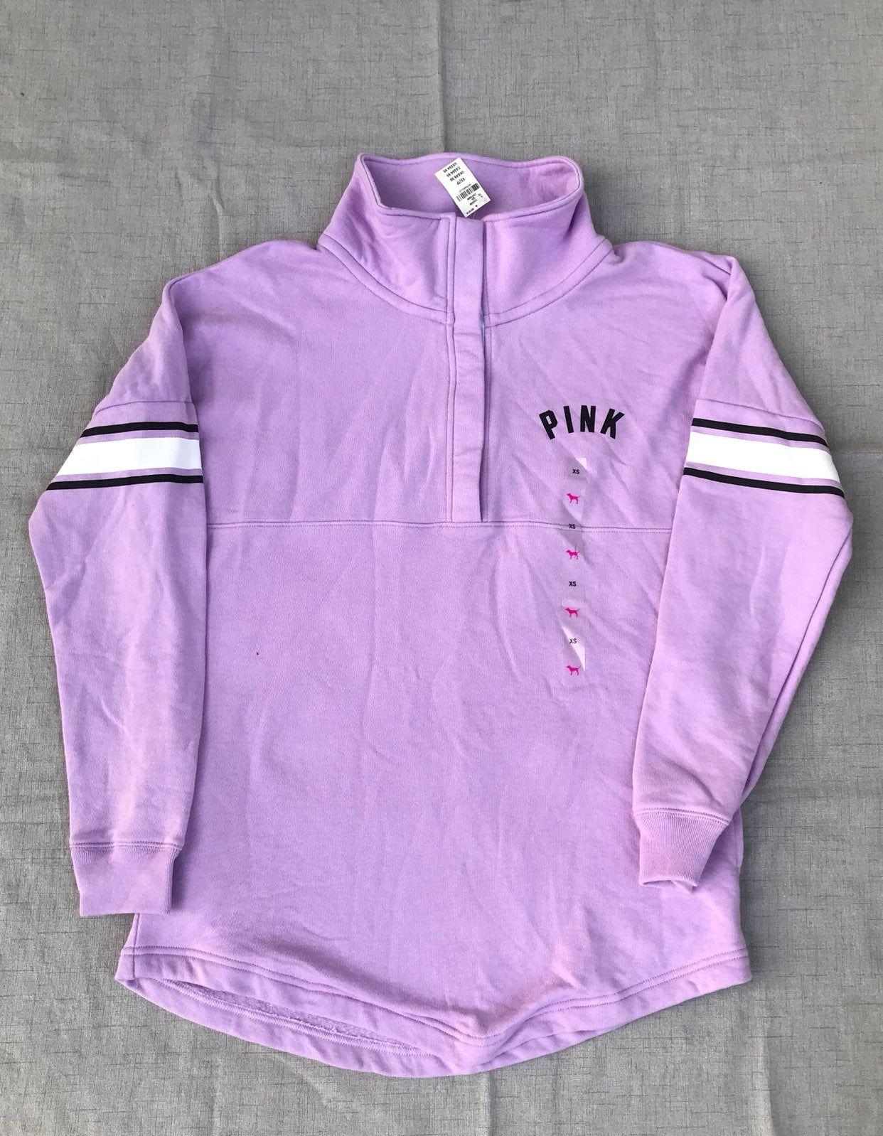Brand New With Tags Lilac Lavender Purple Varsity Crewneck Sweatshirt Runs Bigger Has Snap Button Victoria Secret Pink Victoria Secret Outfits Pink Crewneck [ 1598 x 1242 Pixel ]