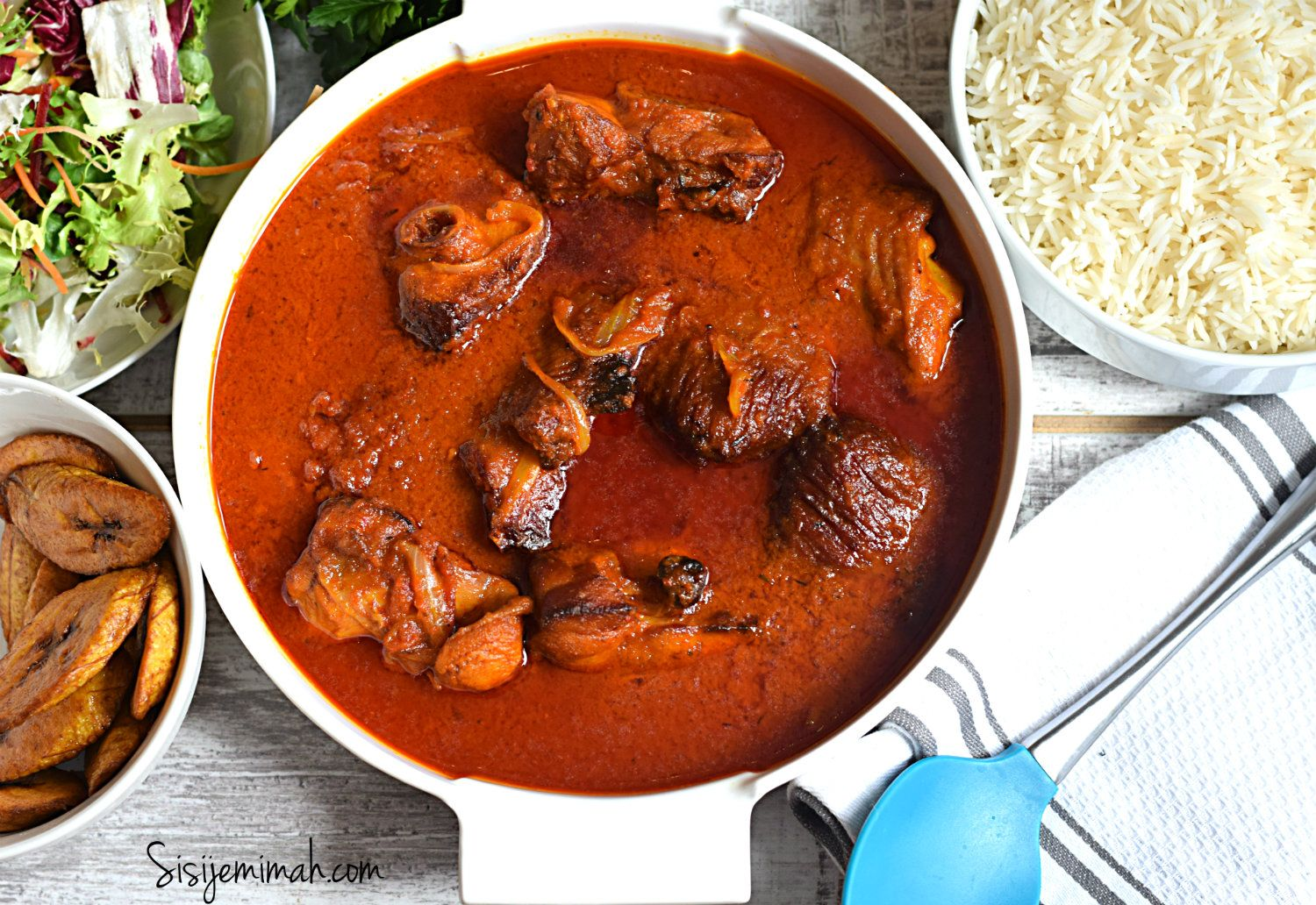 Nigerian Smoked Turkey Stew is a popular pepper/tomato