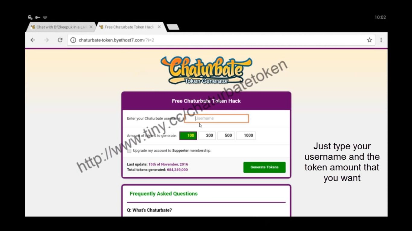 How to get tokens for chaturbate