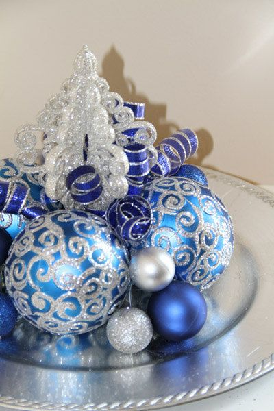 Christmas Centerpiece Chanukah Table Decoration Blue And Silver Holiday Decoration Silver Christmas Decorations Blue Christmas Decor Christmas Centerpieces
