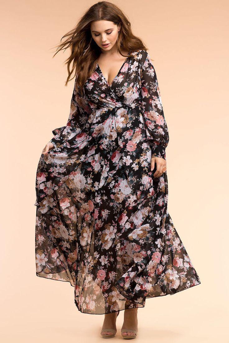 c174103acc5 Plus Size Maxi Dress. Móda Pro Vnadné DívkyMóda Pro PlnoštíhléZimní MódaŠaty  Nadměrné VelikostiKvětinové ...