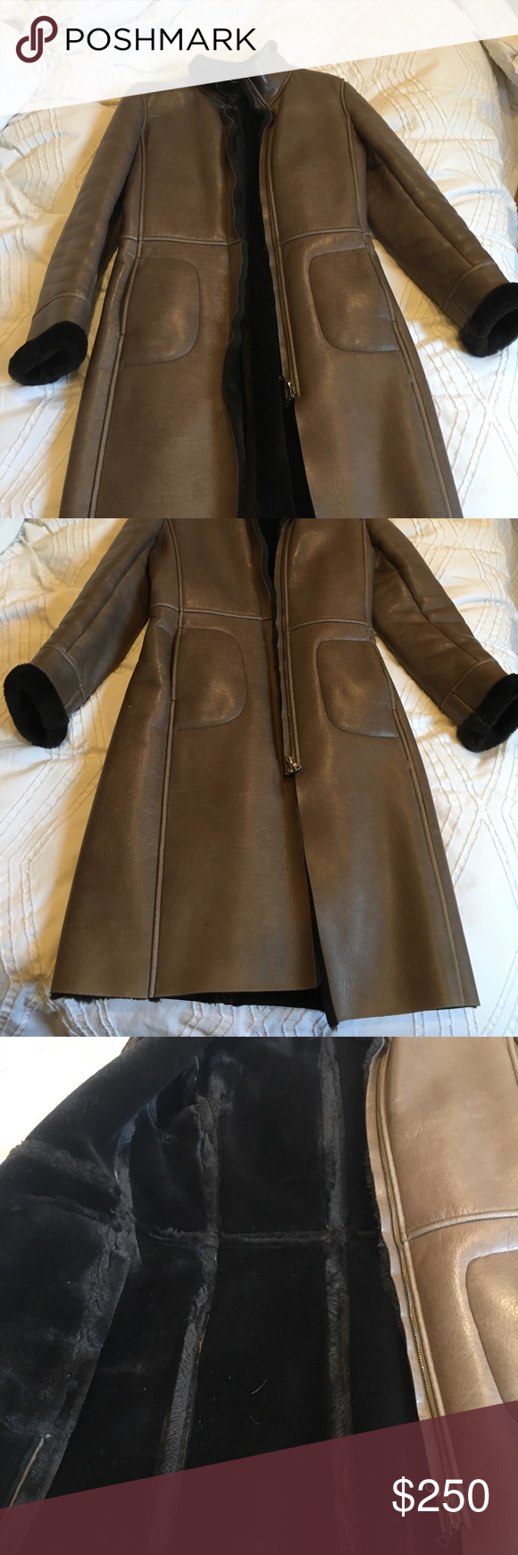 M0851 women's faux fur lined leather coat Quality soft and