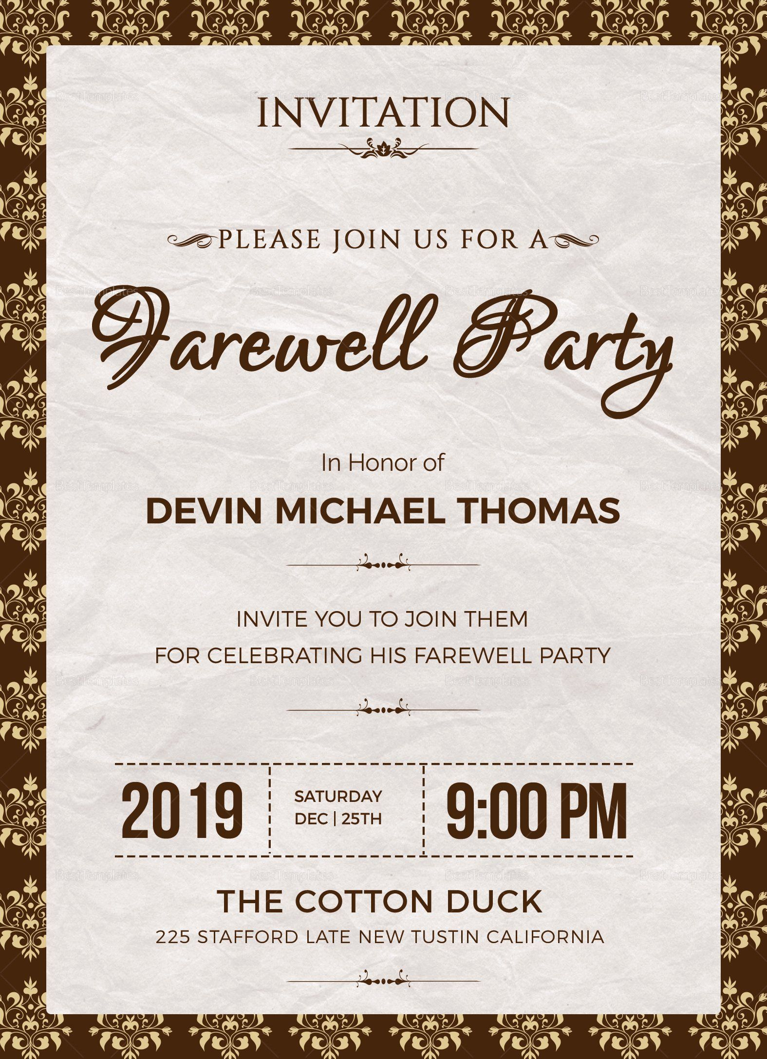 Farewell Invitation Template Free Fresh Farewell Invitation Design Template In Word Psd In 2020 Farewell Invitation Farewell Party Invitations Farewell Invitation Card