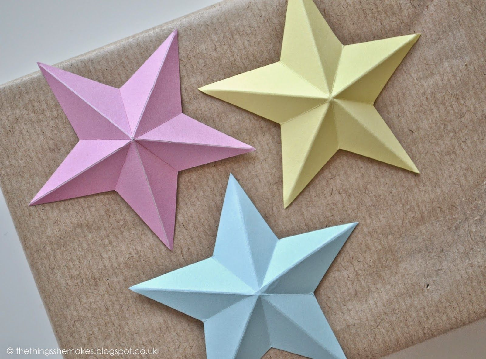 The Things She Makes Papercraft Stars Star Paper Craft Paper Stars 3d Paper Star