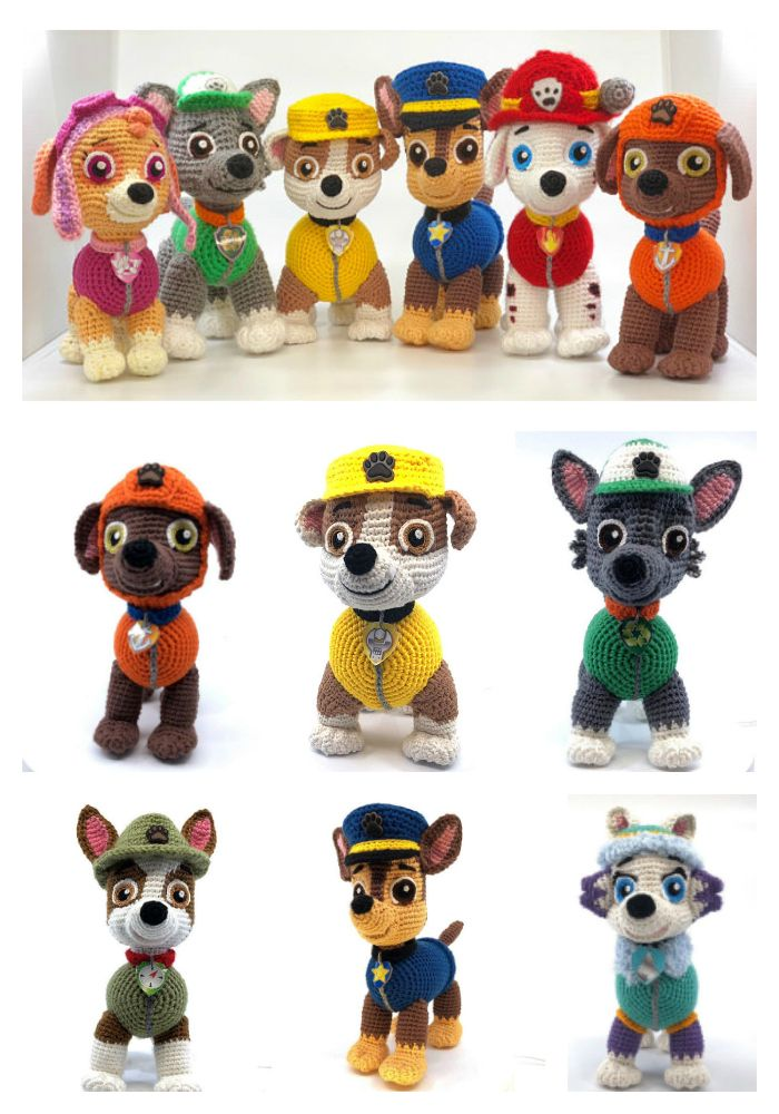 8 Paw Patrol Amigurumi Patterns For Crocheters! - Amigurumi pattern, Paw patrol toys, Crochet doll pattern, Crochet dolls, Crochet patterns amigurumi, Crochet disney - They'll be there on the double! Designed by Tatjana Ozolina for Ambercraftstore, you can get the patterns as one full set or each individually   Chase, Zuma, Rocky, Rubble, Skye, Marsha…