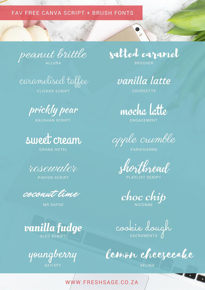 16 free script + brush fonts hidden in CANVA Brush font