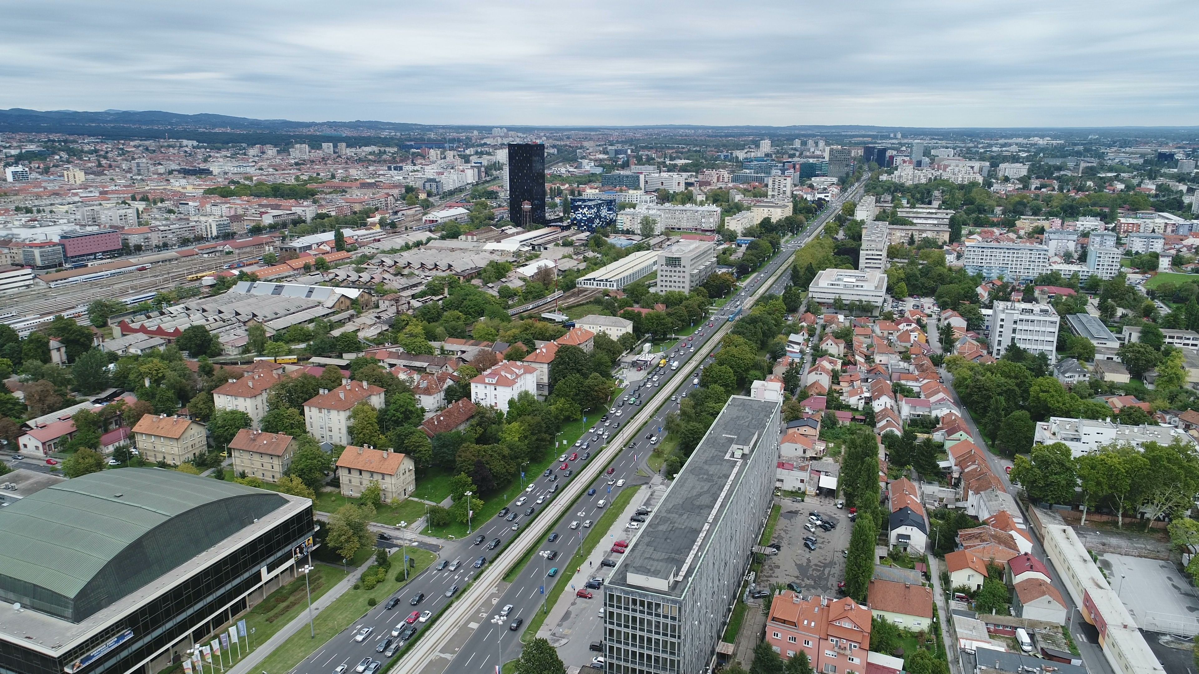 Drone Flight Of Traffic Driving Over Highway In Suburbs Zagreb Croatia Stock Footage Driving Highway Traffic Drone Traffic Driving Highway Traffic Traffic