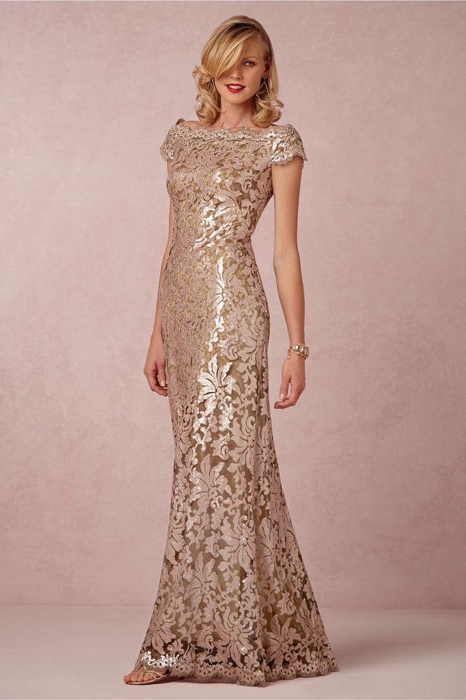 $430 BHLDN Tadashi Shoji Odette Anthropologie Dress 14 Rose Gold ...