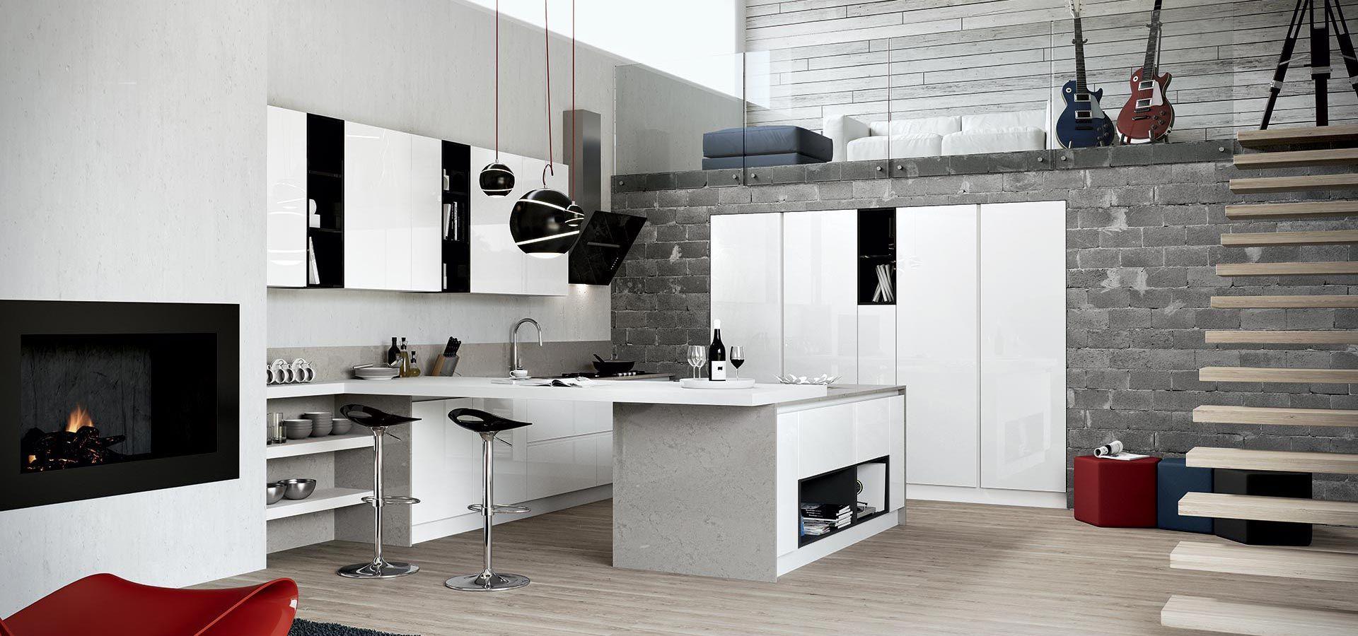 Cucina moderna round finitura bianco vani a giorno - Cucine a giorno ...