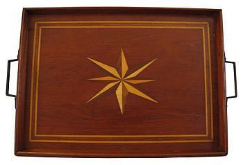 Vintage English Wooden Inlay Butler's Tray  $495