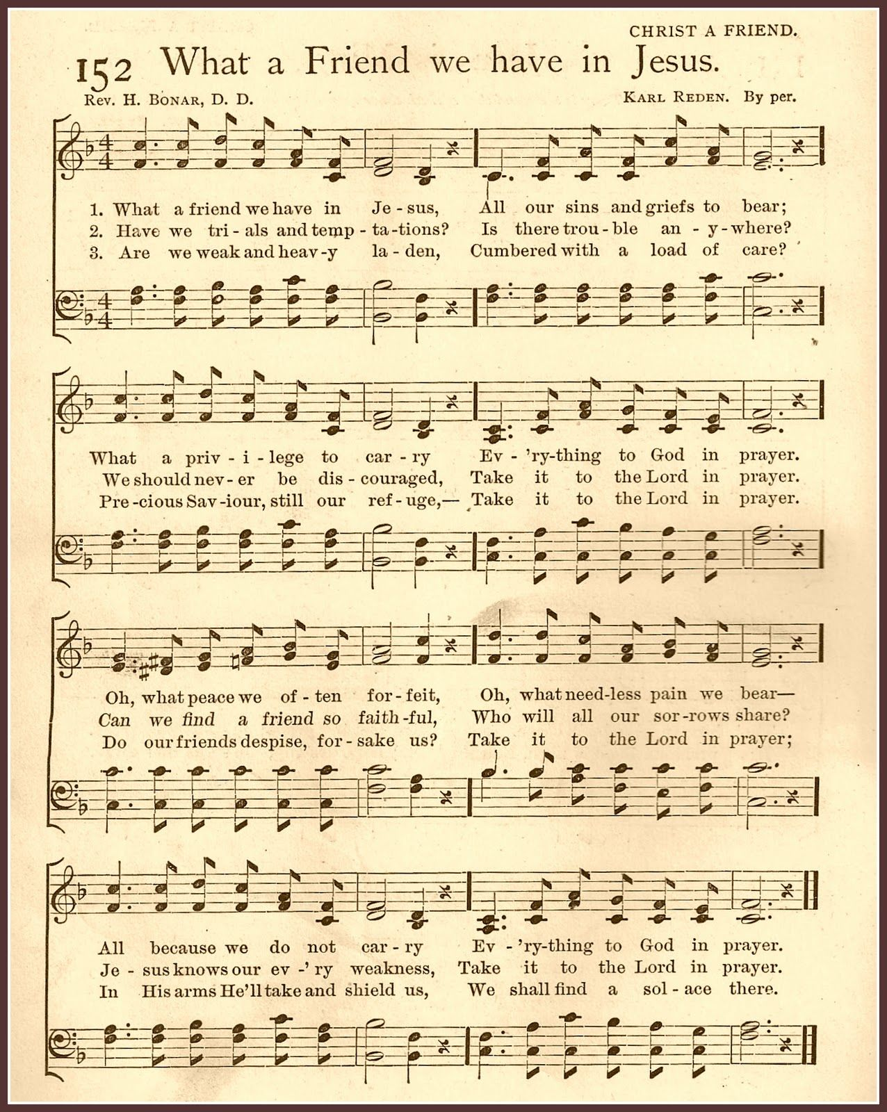 What A Friend We Have In Jesus Hymn Free Printable From