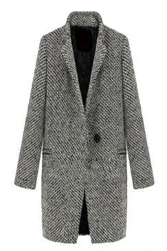 Gray Modern Womens Swallow Gird Patterned Winter Tweed Coat on sale at reasonable prices, buy cheap Gray Modern Womens Swallow Gird Patterned Winter Tweed Coat online at PinkQueen.com now!