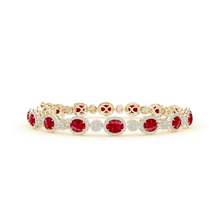 Angara Natural Ruby Tennis Bracelet in 14k Rose Gold glEPGomQ