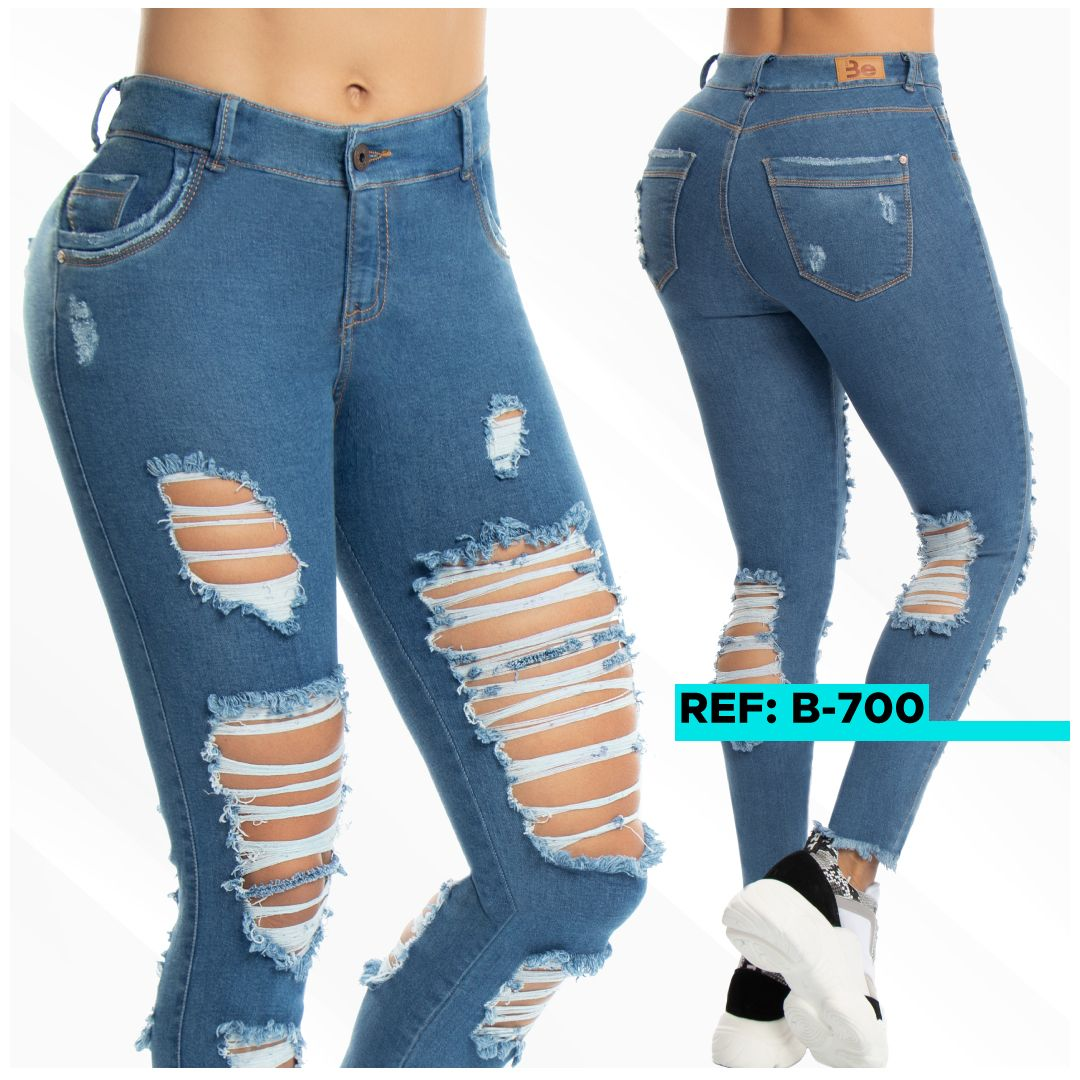 Jean Azul Con Rotos Adelante Y Atras Fashion Spring Fashion Jeans