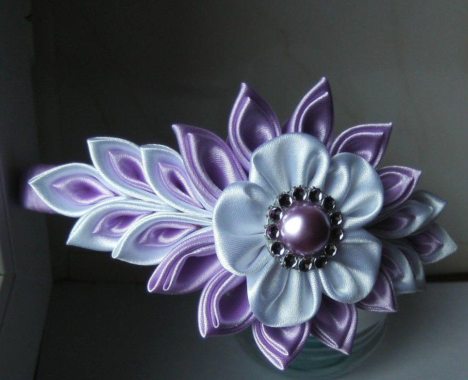 serre t te headband kanzashi flower satin ribbon handmade. Black Bedroom Furniture Sets. Home Design Ideas