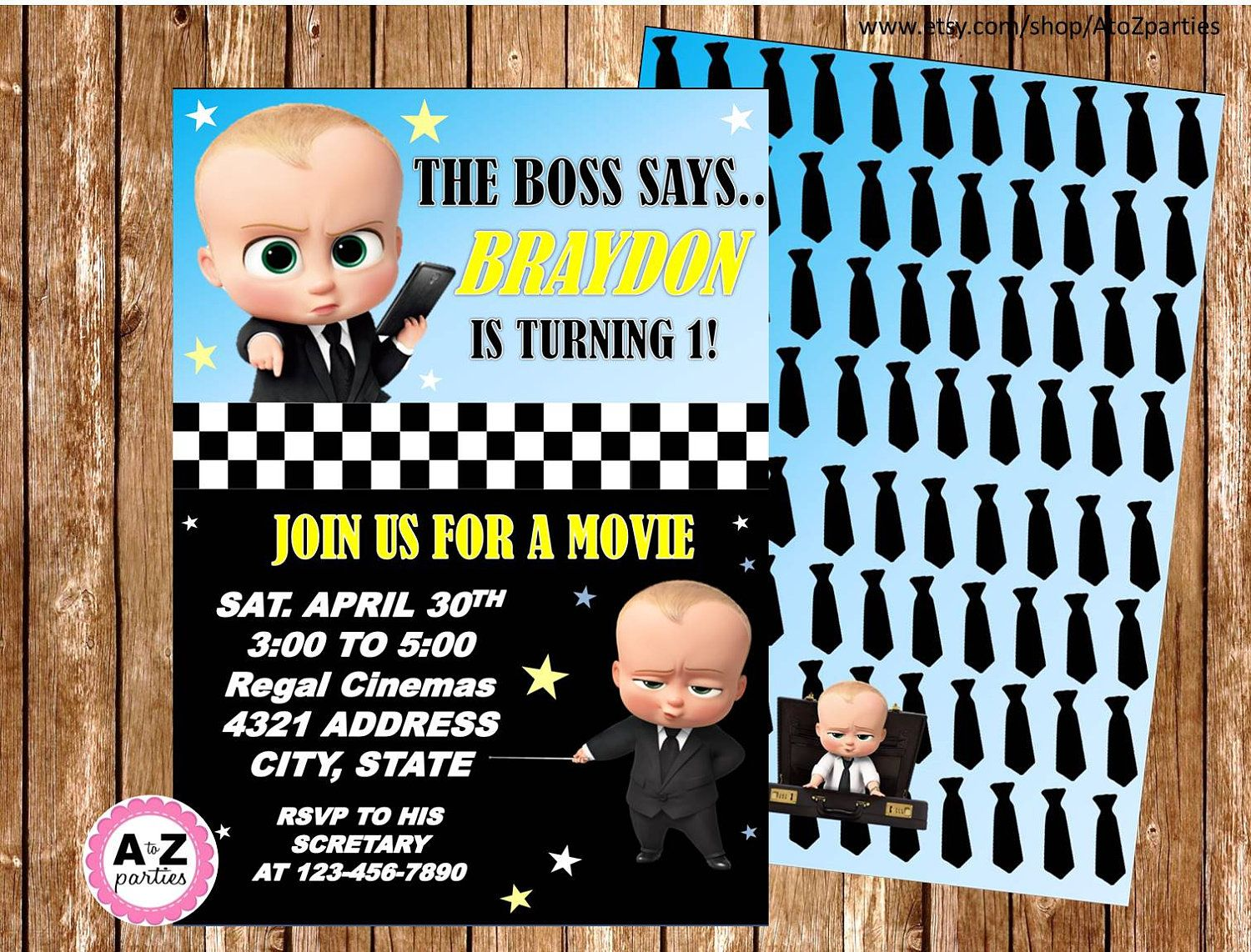 boss baby personalized invitation double sided design printable