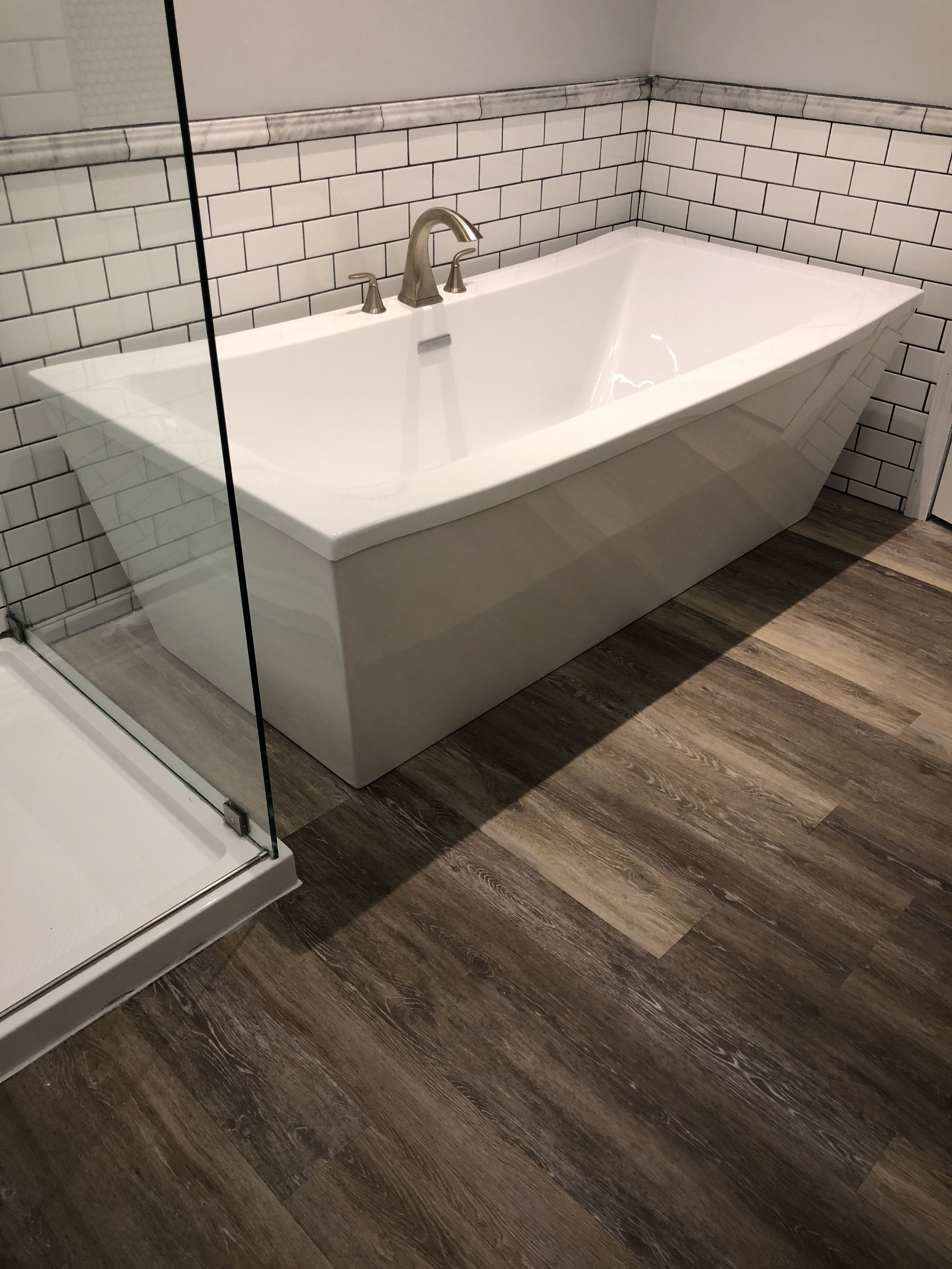 Freestanding Soaking Tub White Subway Tile With Grey Grout