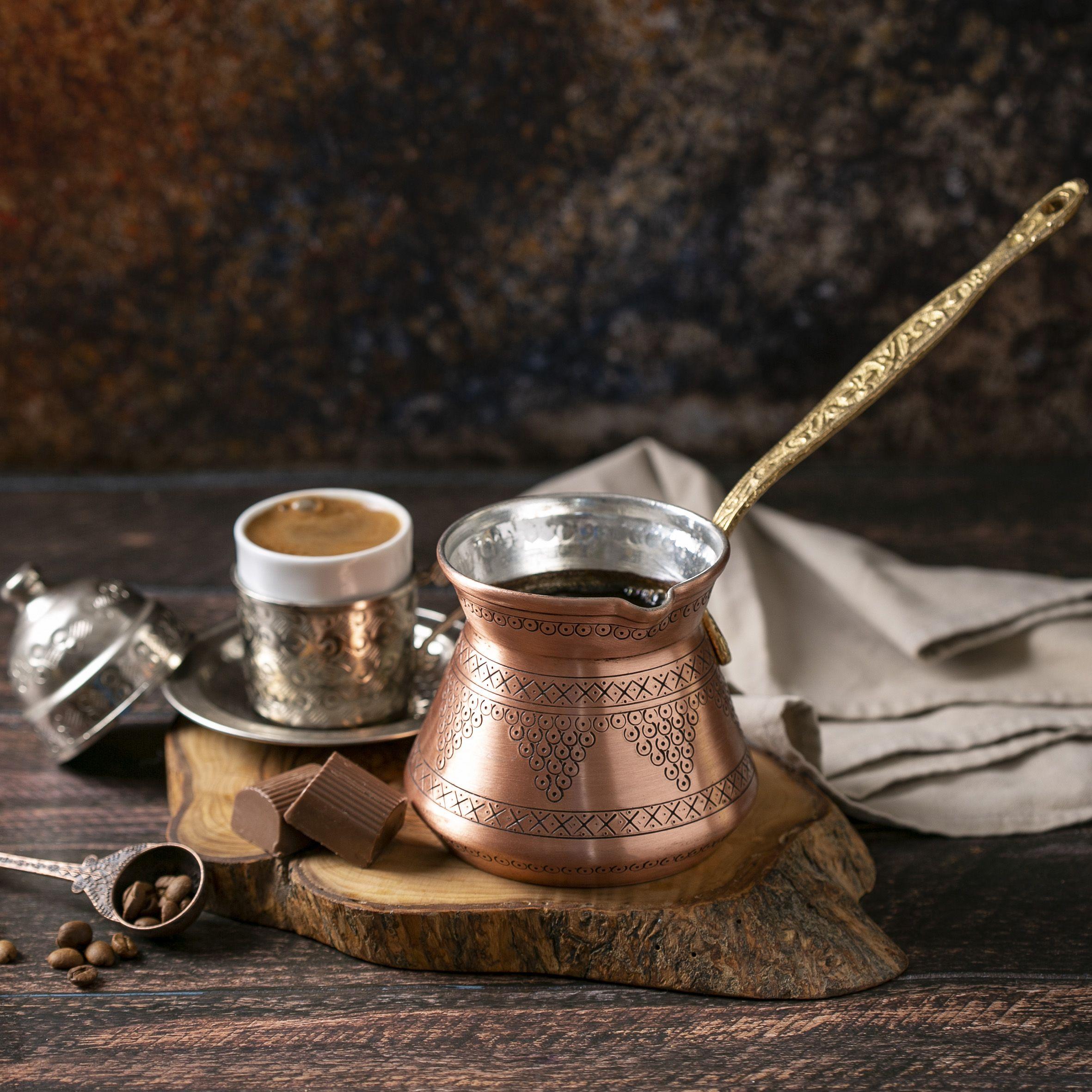 Crystalia copper coffee pot turkish greek armenian arabic