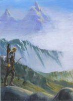 Legolas on the Mountain by IngridKVHardy