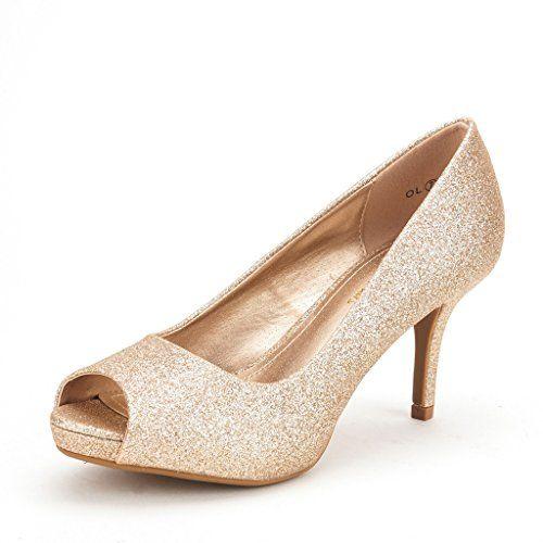 DREAM PAIRS OL Women's Elegant Open Toe Classic Low Heel