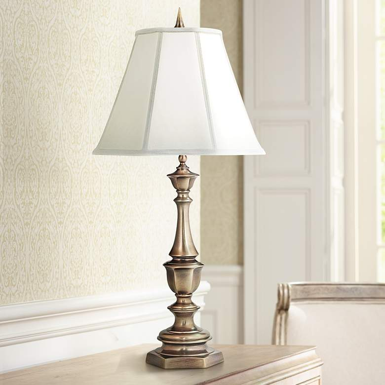 Stiffel Ivory And Antique Brass Table Lamp 2x829 Lamps Plus In 2020 Brass Table Lamps Antique Table Lamps Classic Table Lamp