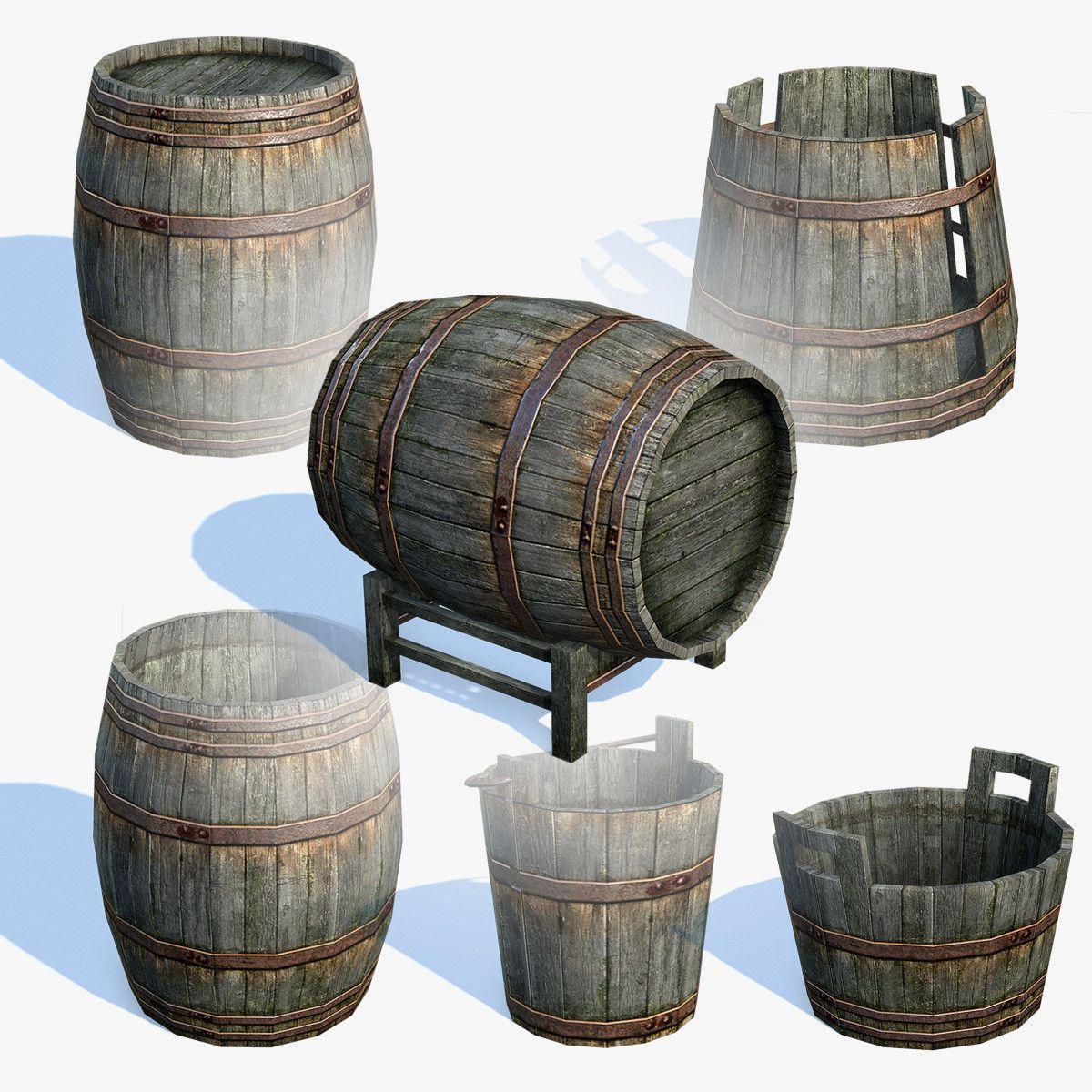 Low Poly Old Wooden Barrels 3d Max 3d Model Wooden Barrel Barrel Wooden