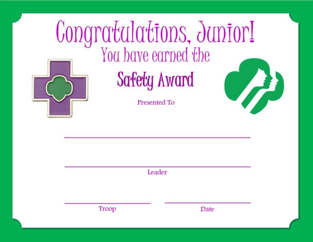 girl scout award certificate templates - junior safety award certificate junior girl scouts