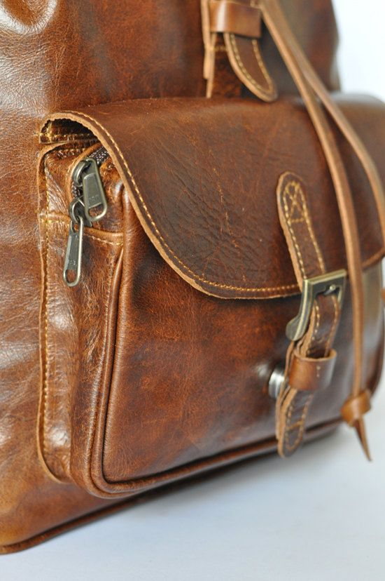 9c304523b3 Brown Genuine Leather backpack Backpacks For Sale