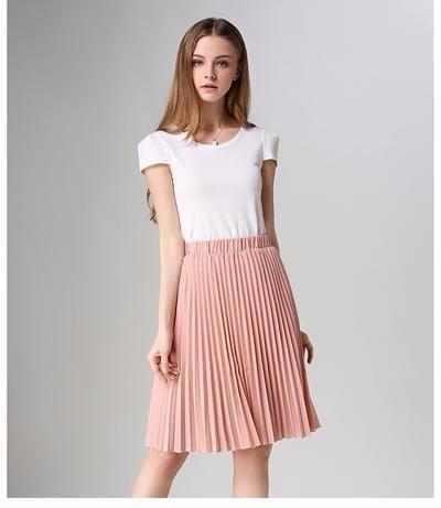 a9fe693b65d ANASUNMOON Women Chiffon Pleated Skirt Vintage High Waist Tutu Skirts Womens  Saia Midi Rokken 2016 Summer Style Jupe Femme Skirt