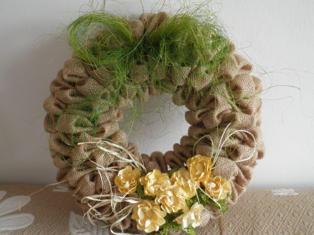 Wianek Z Juty Wiosna Burlap Wreath Grapevine Wreath Grape Vines
