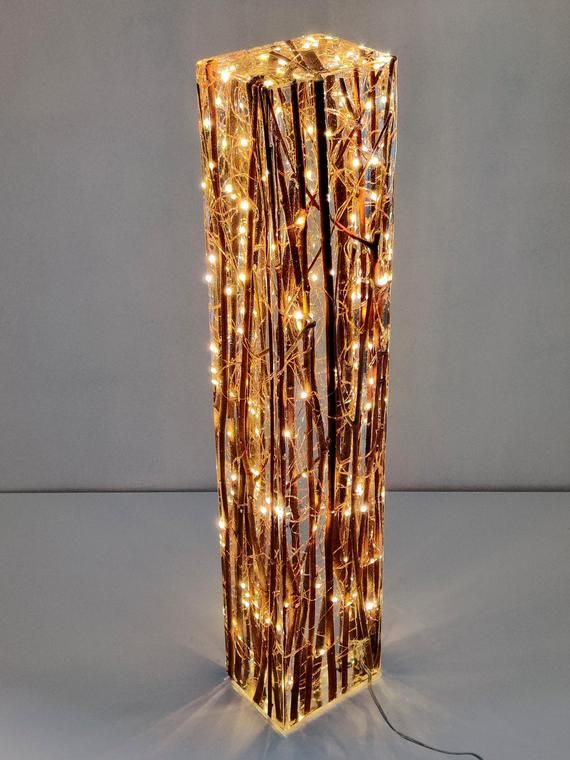 Tall willow and resin light sculpture   Etsy