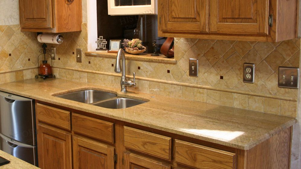 Best Brazil Millennium Cream Kitchen Yellow Granite Countertops