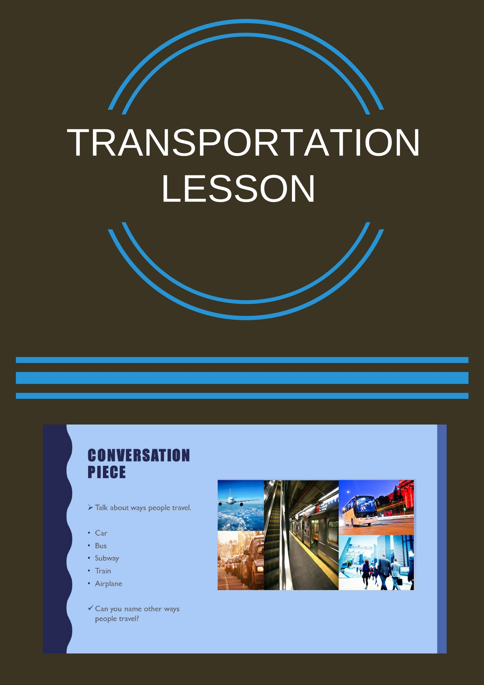 the blue cloud bubble esl pdf powerpoint lesson transportation