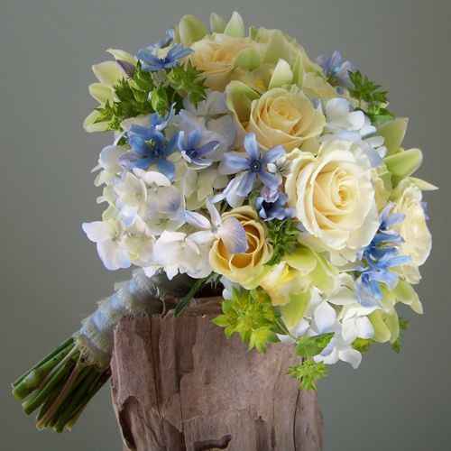 Blue Hydrangea Wedding Flowers: Bouquet Contained Tweedia, Pale Blue Hydrangea, Cream