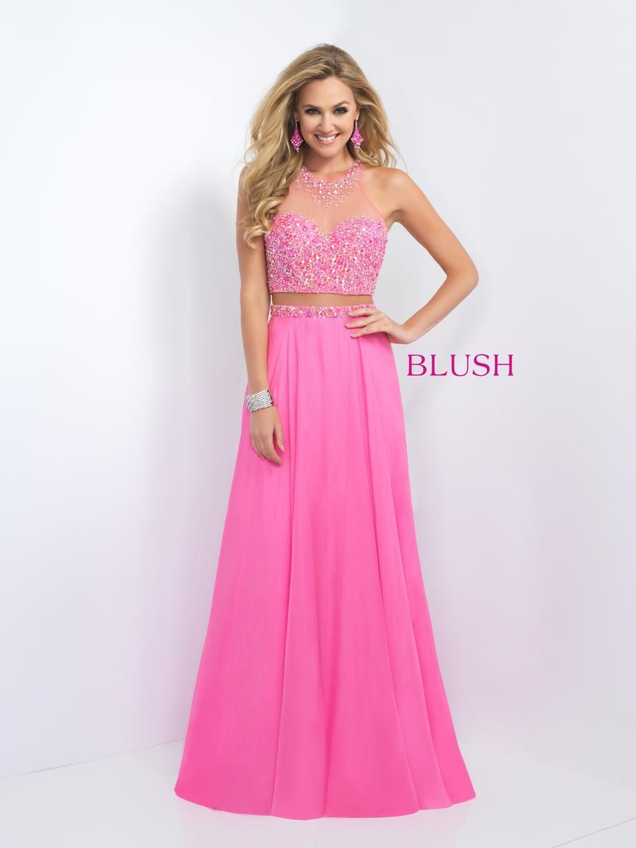 Size 8 Peony Pink Blush- 11062 is a high neck two piece gown with a ...