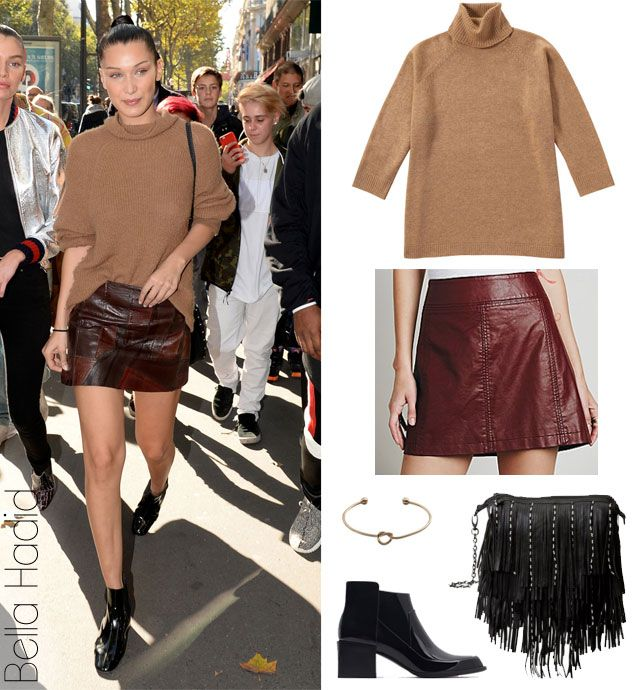 Merlot Mini Bella Hadids Camel Sweater And Leather Skirt Look For Less