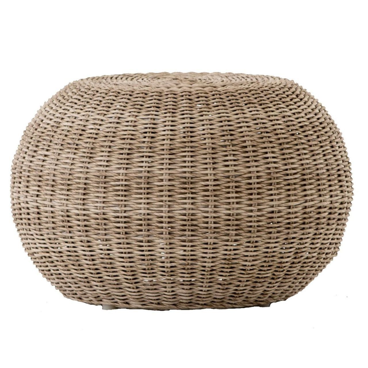 Pascal Vintage White Woven Wicker Round Stool Ottoman Outdoor Coffee Tables Outdoor Stools Outdoor Furniture [ 1280 x 1280 Pixel ]