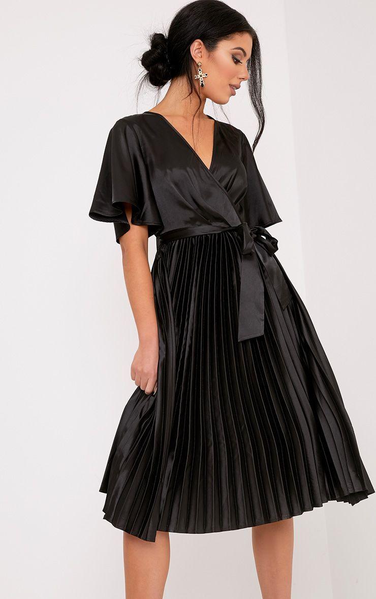 fc4337556a Mairee Black Satin Pleated Midi Dress in 2019