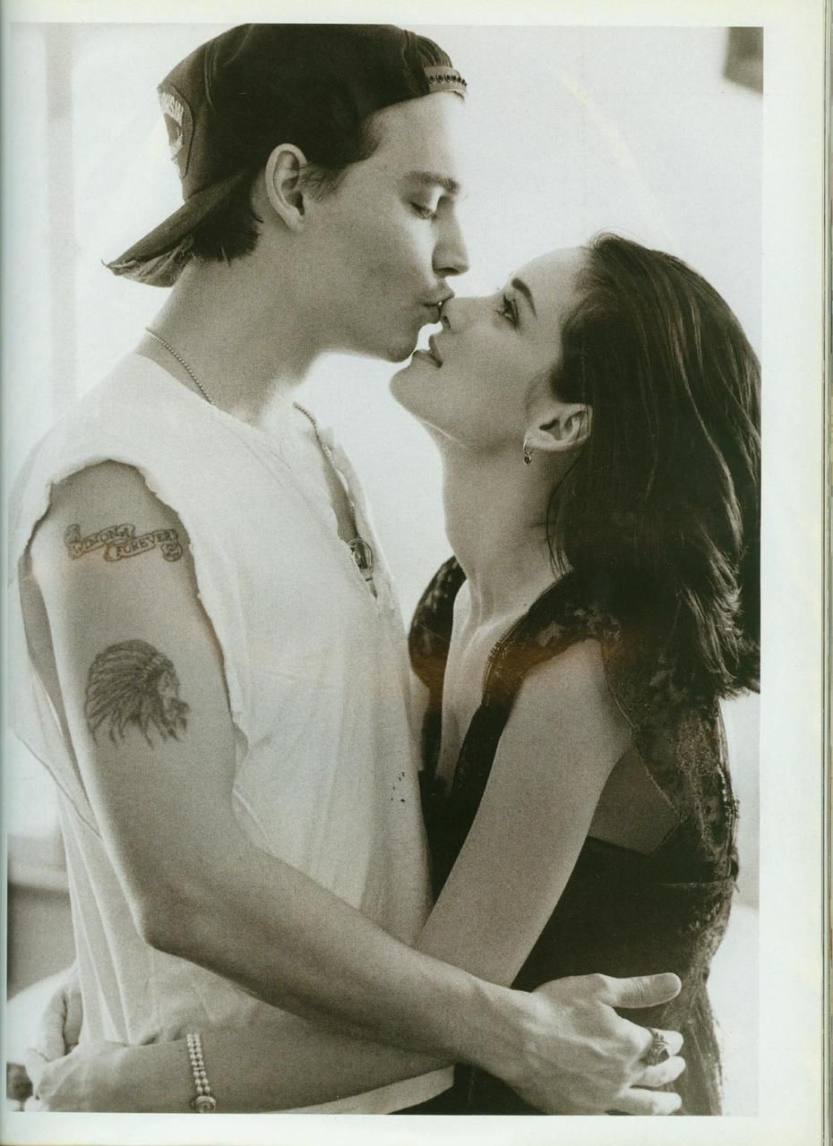 """Johnny Depp and Winona Ryder photographed by Herb Ritts for Vogue UK, 1990.    """"When I met Johnny, I was pure virgin. He changed that. He was my first everything. My first REAL kiss. My first REAL boyfriend. My first fiancee. The first guy I had sex with. So he'll always be in my heart. Forever. Kind of funny that word."""""""
