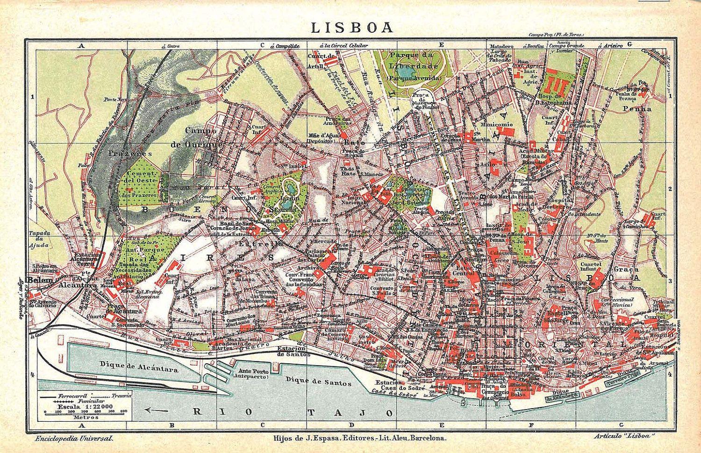 Lisbon map Enciclopedia EspasaCalpe Lugares del mundo Pinterest