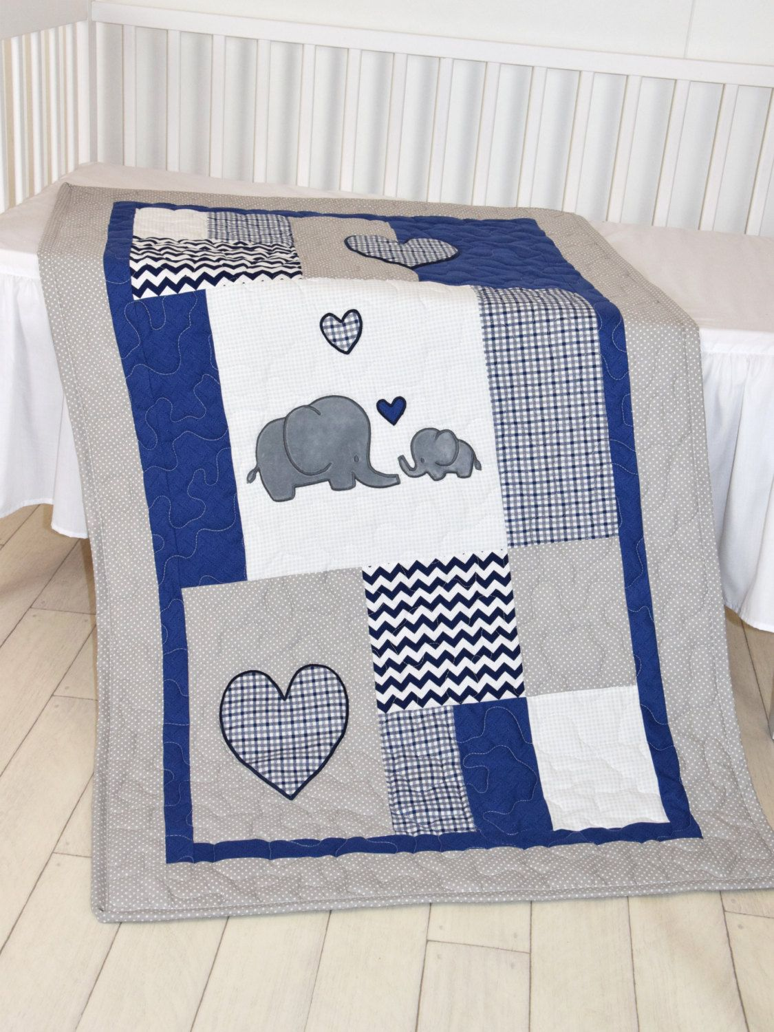 Baby Bed Deken.Elephant Baby Blanket Navy Gray Crib Quilt Chevron Kids Bedding