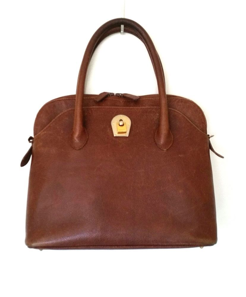 7f938cd98b4 Details about BALLY Vintage Leather Handbag Bag Satchel Brown Gold ...