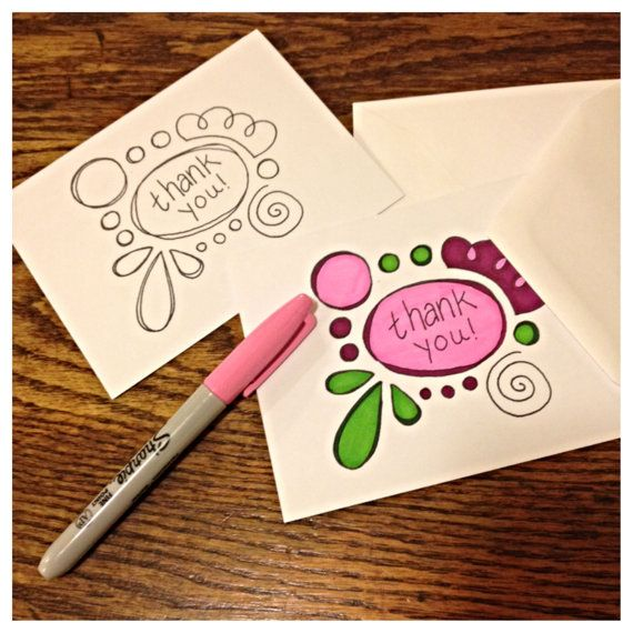 Thank You Cards Diy Color Your Own Doodles Thank You Card