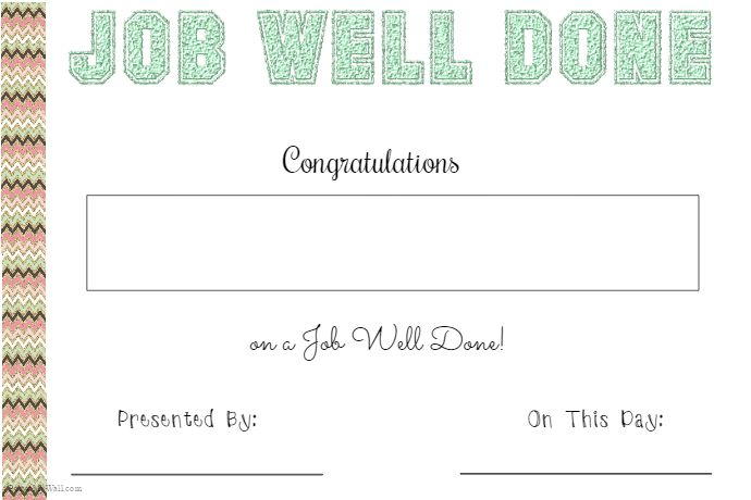 Job Well Done Certificate Work Pinterest Certificate - best of printable student of the month certificate