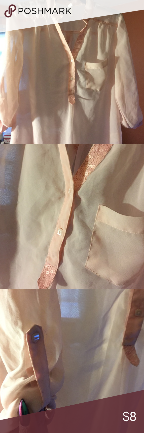 Pretty sheer Blouse Pretty in pale pink sheer blouse! Split on sides at bottom very cute! Sequin design on neckline and on back JUNIORS! but can fit ladies Truth Tops Blouses