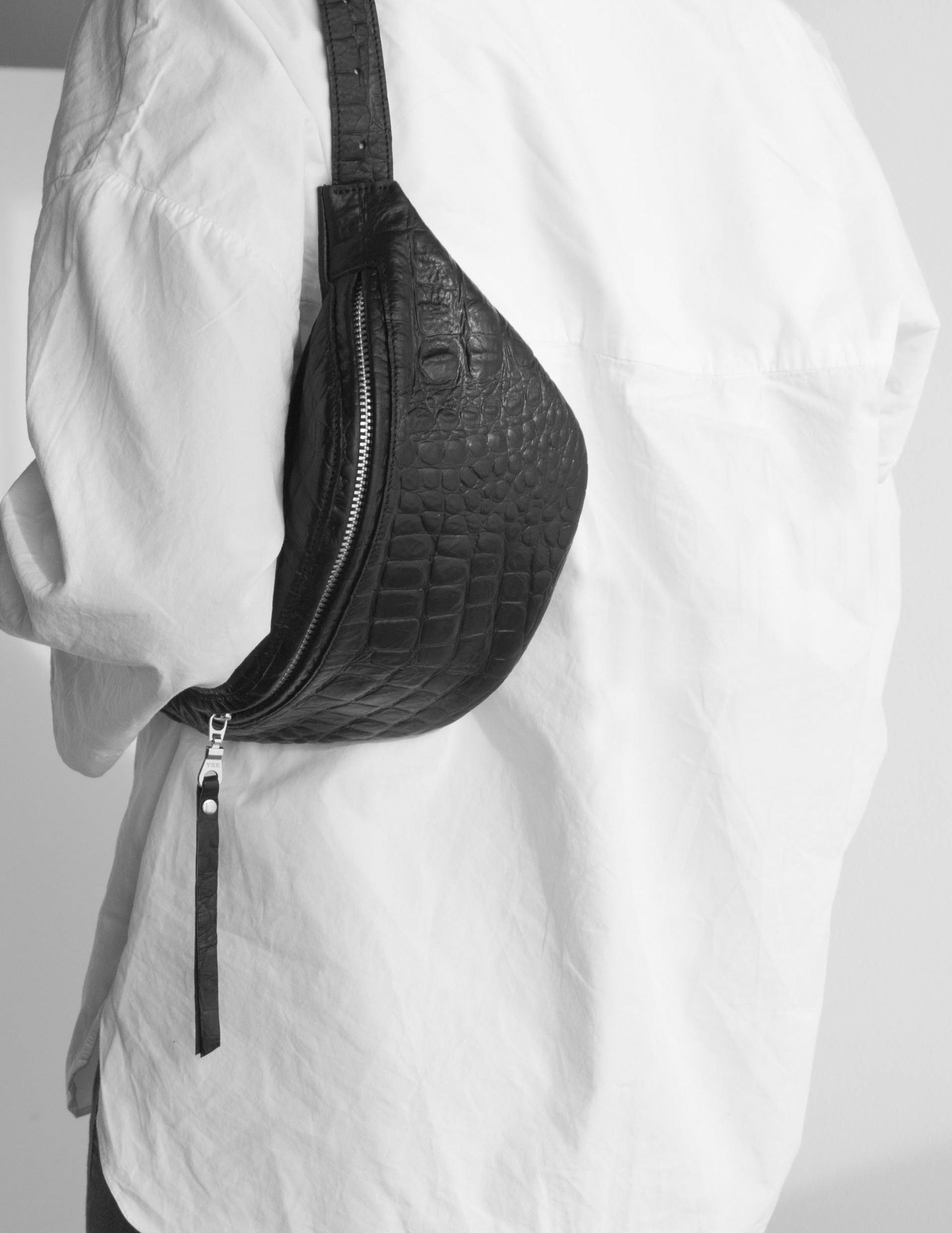 7614c60df White shirt with the modern fanny back 'SMALL' in soft italian black  leather with python print in a minimalist fashionable style handmade by  DAPHNY RAES in ...