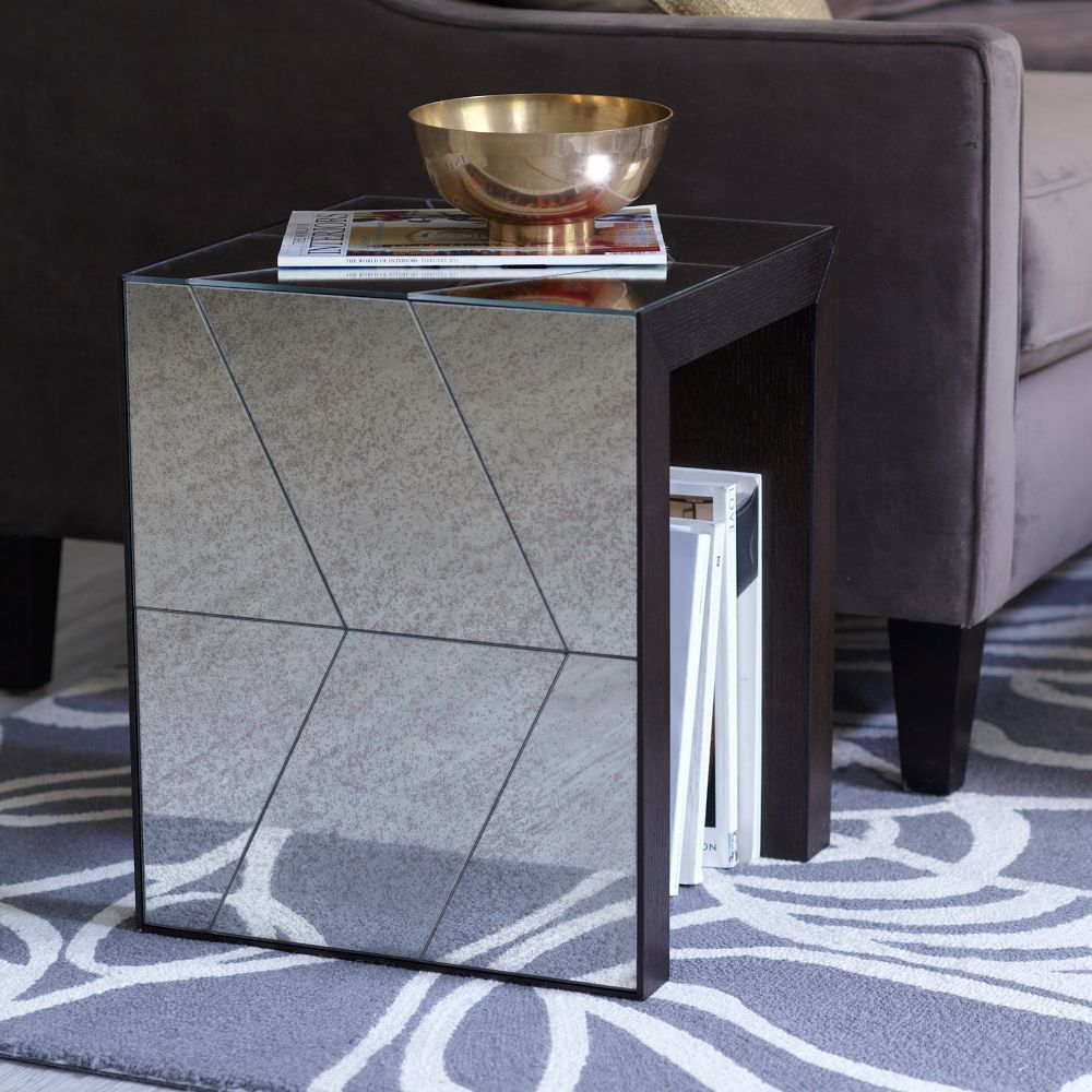 Herringbone Mirror Side Table Mirrored Side Tables Side Table Mirrored Coffee Tables