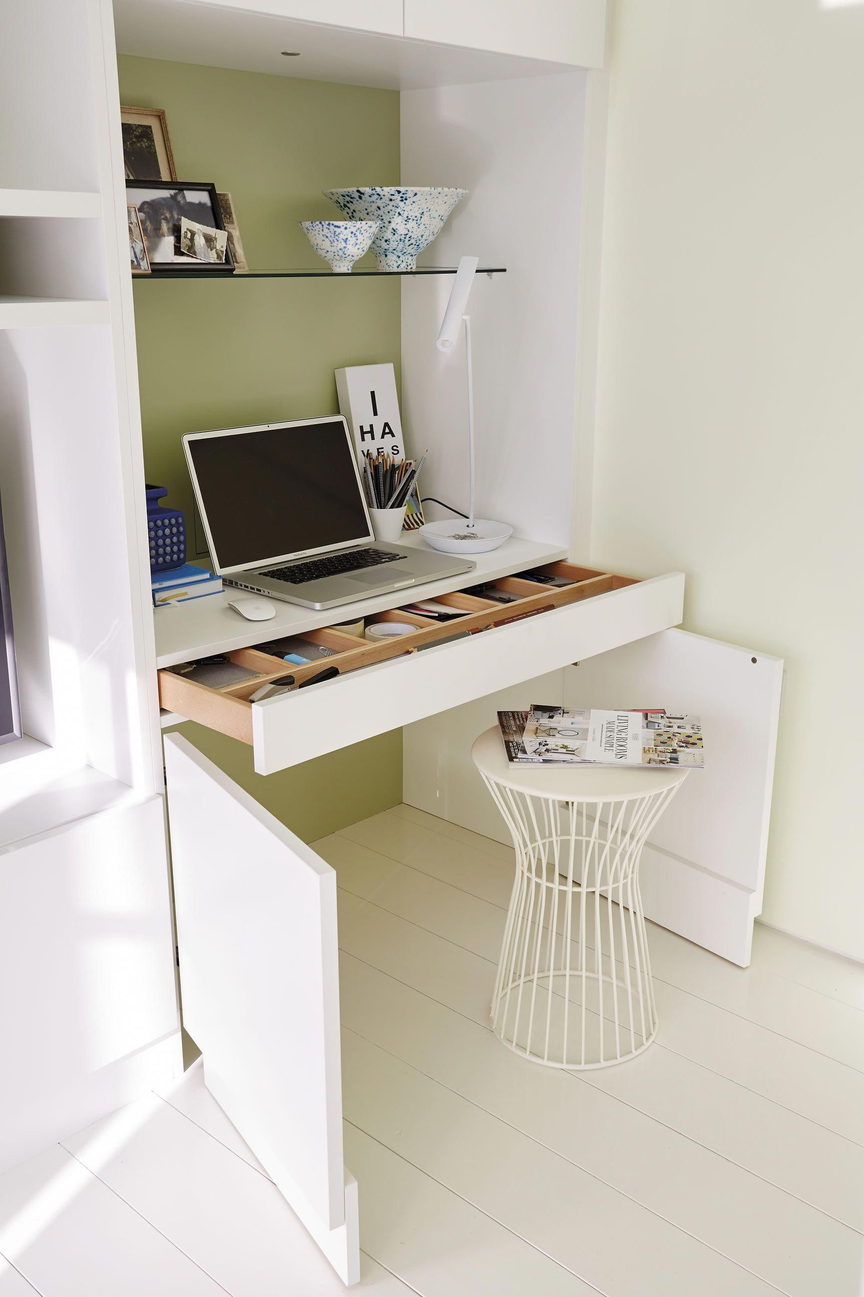Small Hidden Study Area With Built In Desk Bedroomdesk Bedroom Desk Decor Study Room Small Desk In Living Room